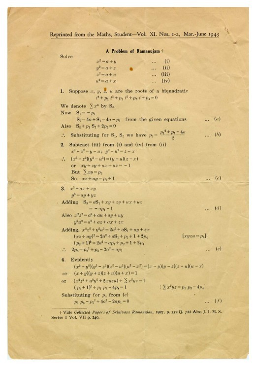 "His first paper, ""A problem of Ramanujam"", 1943  - big"