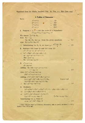"His first paper, ""A problem of Ramanujam"", 1943  - small"