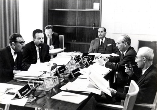 ICTP's first Scientific Council, IAEA, Vienna, 1964, chaired by R. Oppenheimer (right) - big