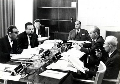 ICTP's first Scientific Council, IAEA, Vienna, 1964, chaired by R. Oppenheimer (right) - small