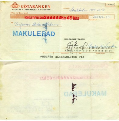 Abdus Salam's Nobel cheque - small