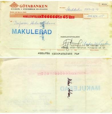 Abdus Salam's Nobel cheque - small
