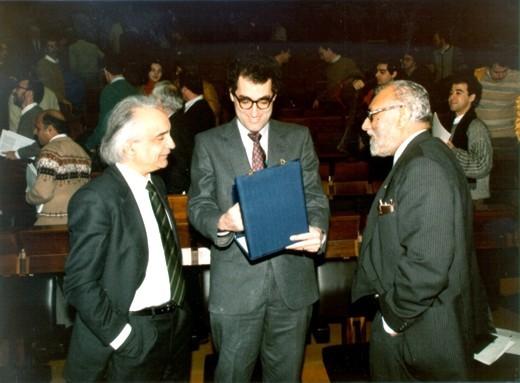 With Antonino Zichichi and Edward Witten, 1986 - big