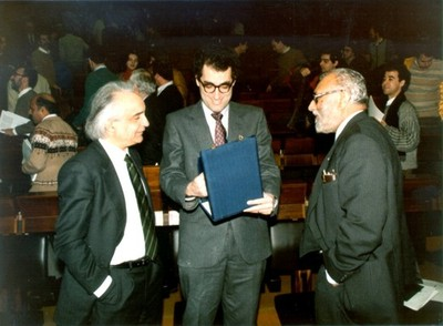 With Antonino Zichichi and Edward Witten, 1986 - small