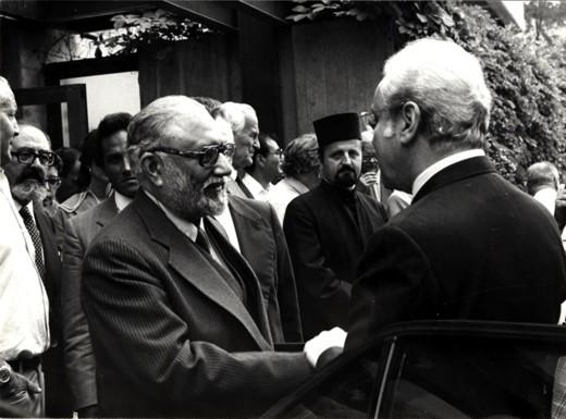 With Javier Pérez de Cuéllar, Secretary-General of the United Nations, 1985 - big