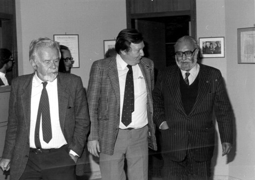 With Paolo Budinich and Nobel Laureate Carlo Rubbia, 1984 - big