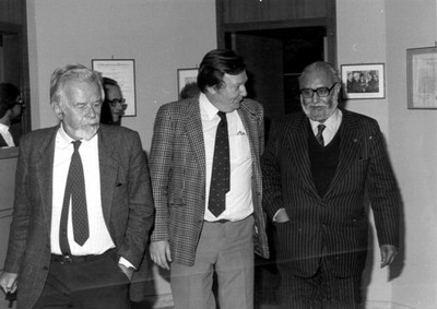 With Paolo Budinich and Nobel Laureate Carlo Rubbia, 1984 - small