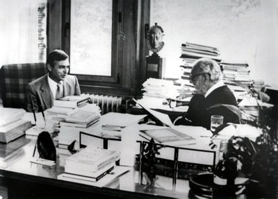 With Rexhep Meidani, ICTP Associate and later President  of Albania, 1987 - small